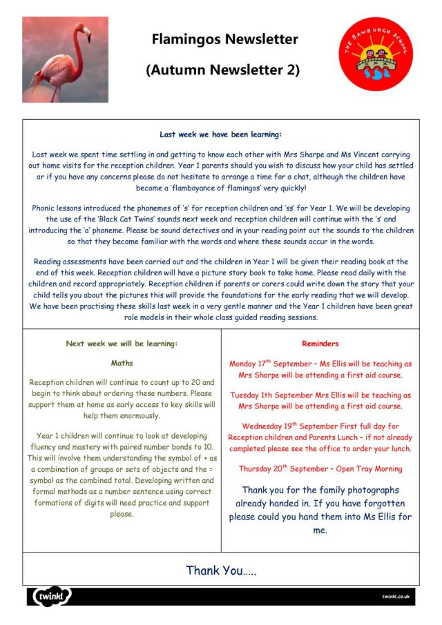 thumbnail of Flamingos Newsletter 17th September 2018
