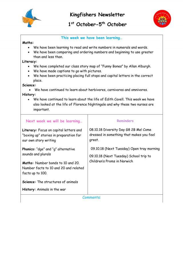 thumbnail of Kingfisher Newsletter 1st-5th October