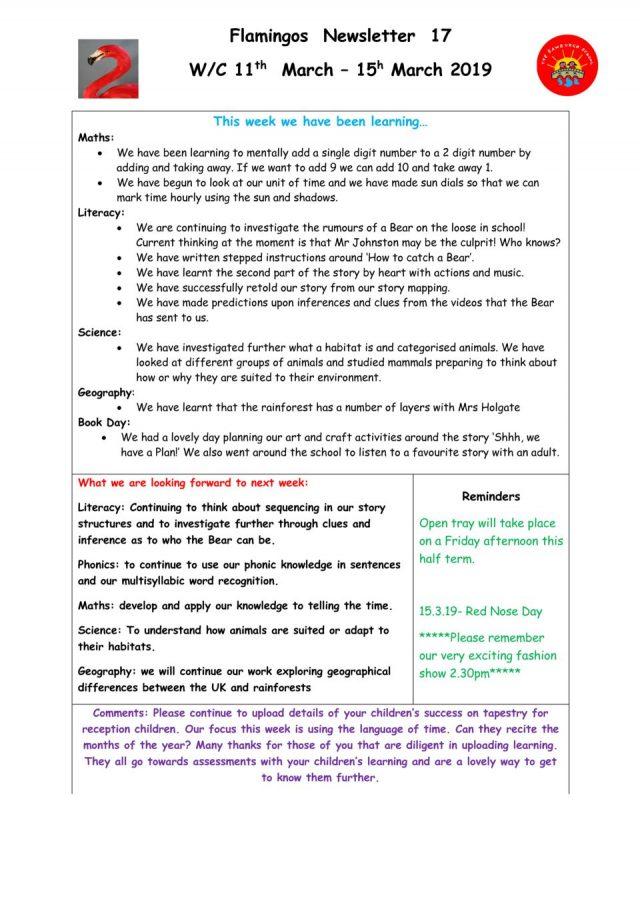 thumbnail of Spring Flamingo Newsletter 17