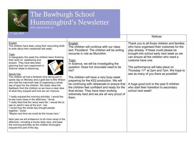 The Bawburgh School Hummingbird's Newsletter